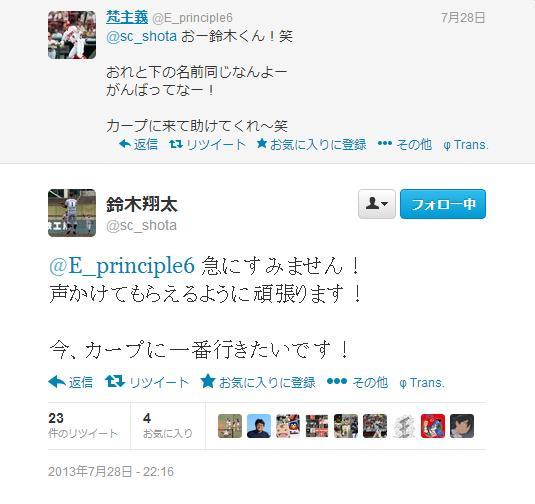聖隷・鈴木翔太君Twitter