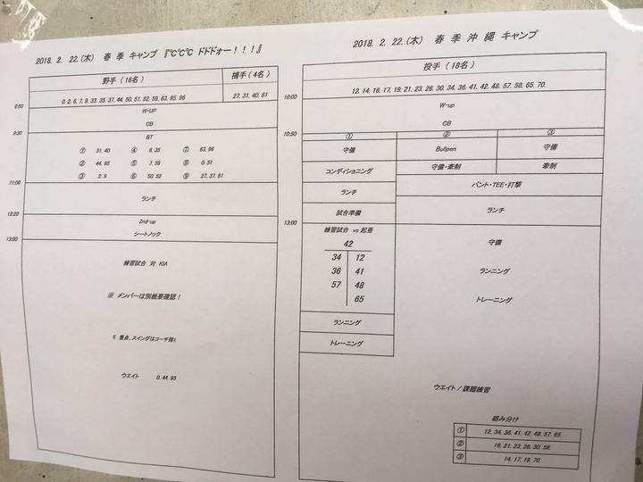 2018春季キャンプ_スケジュール2月22日_一軍1