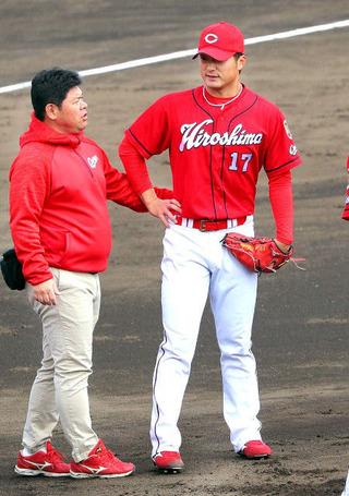 【広島】岡田、左下腿に打球直撃…開幕ローテピンチ