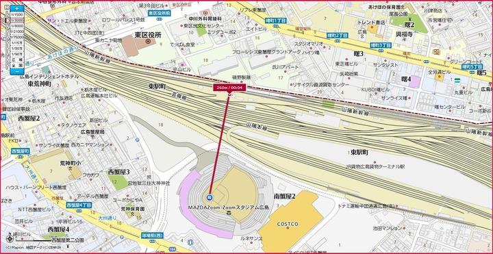 マツダスタジアム新幹線距離