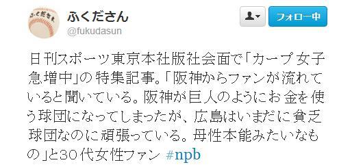 ふくださんTwitter阪神ファンからカープファンへ