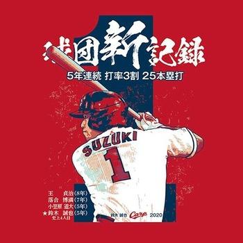 2020鈴木誠也5年連続打率3割25HR達成Tシャツ2