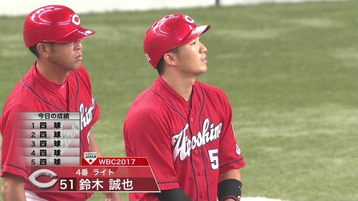 4(右)鈴木誠也 四球 四球 四球 四球 四球