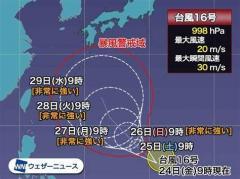 台風16号は週末以降、急発達 非常に強い勢力で北上し日本に影響も