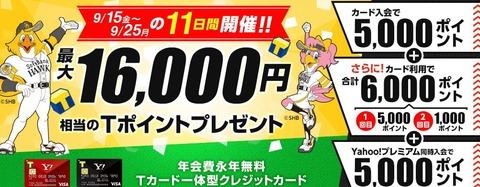 ヤフーカード16000ポイント