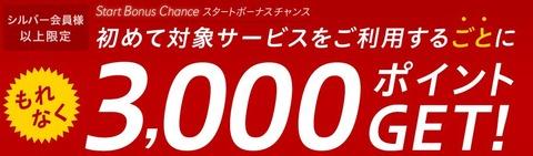 初めてサービス利用ごとに3000pt