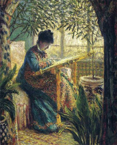 Madame Monet Embroidering1875