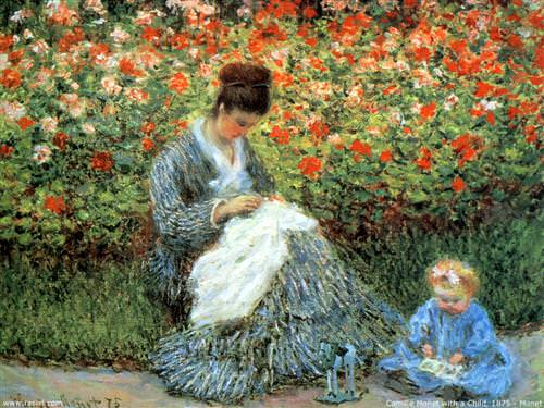 Camille Monet and a Child in  Argenteuil1875