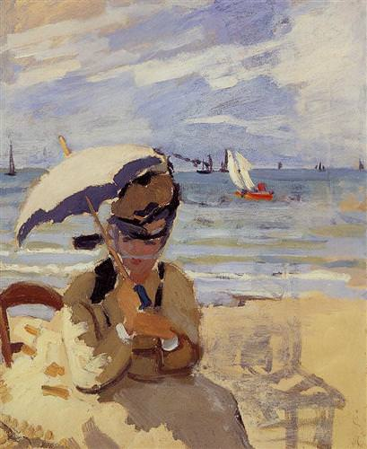 Camille Sitting on the Beach at Trouville1870