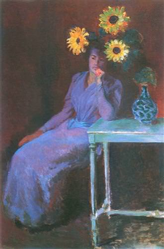 Portrait of Suzanne Hoschede with Sunflowers1890