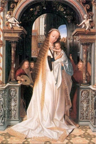 Madonna and Child Surrounded by Angels by Quentin Matsys1509