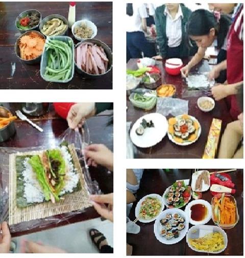 【日本語チューター】ベトナム便り−2−文化紹介   学校での巻き寿司作り(2020年2月10日)