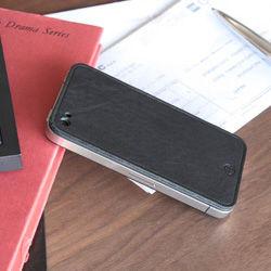 iPhone4用専用本革保護シート ブラック