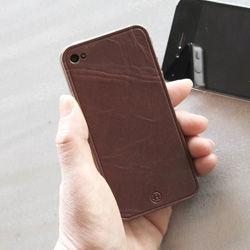 iPhone4専用本革保護シート チョコ