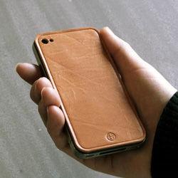 iPhone4専用本革保護シート キャメル