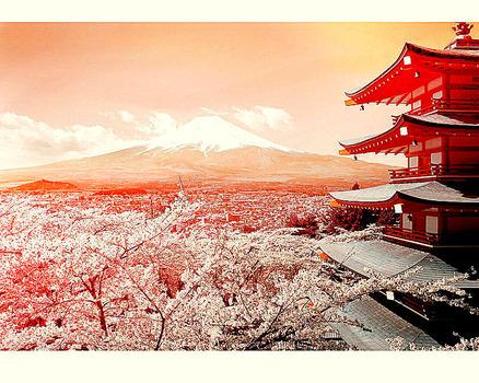 富士と三重塔