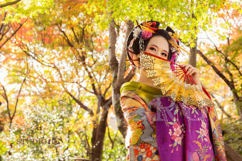 京都 花魁体験 写真 撮影 秋 紅葉