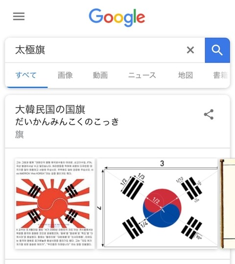 日本のGoogleで「太極旗」を検索すると、戦犯旗と合成された国旗が登場~ソ・ギョンドク教授、グーグルに修正要請[08/17]