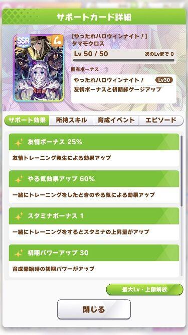 ウマ娘 サポート SSRハロウィンタマモクロス 2