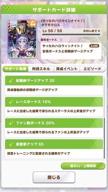 ウマ娘 サポート SSRハロウィンタマモクロス 3