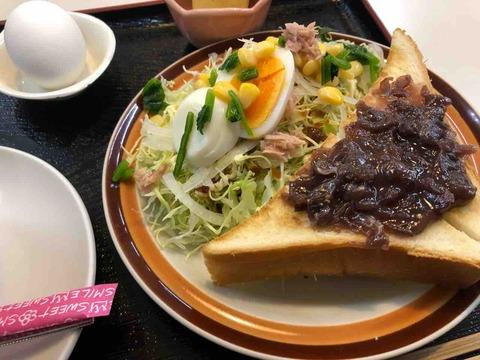 『やきそばとお好み焼 プラザ』モーニング(サラダ・トースト)