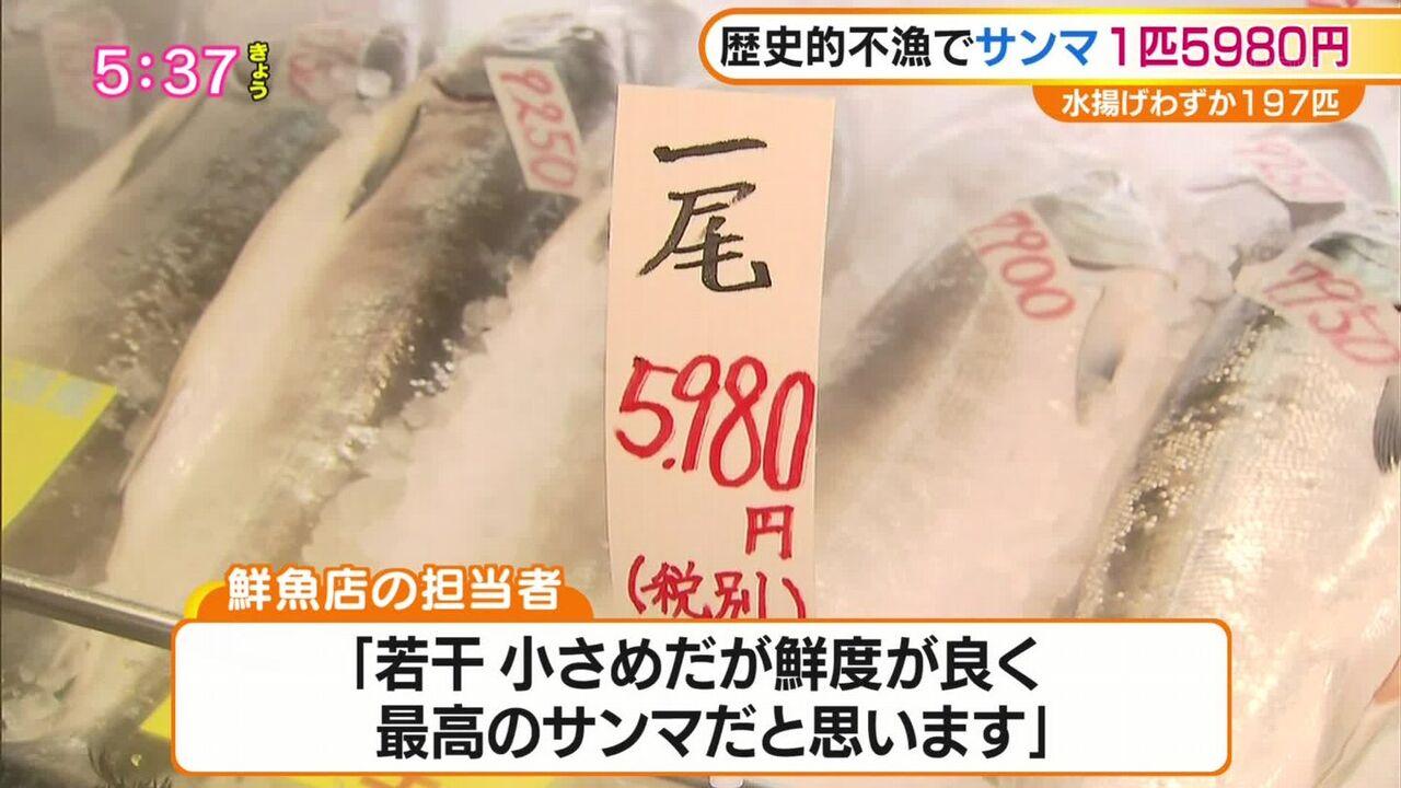 【悲報】「一尾5980円」 サンマ、インフレする