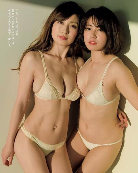 【画像】熊田曜子(36)磯山さやか(36)アラフォーおばさん二人の水着グラビアがキツいwwwww