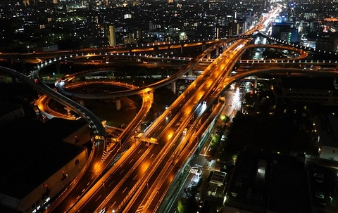 上野②夜の十字路(東大阪JCT)