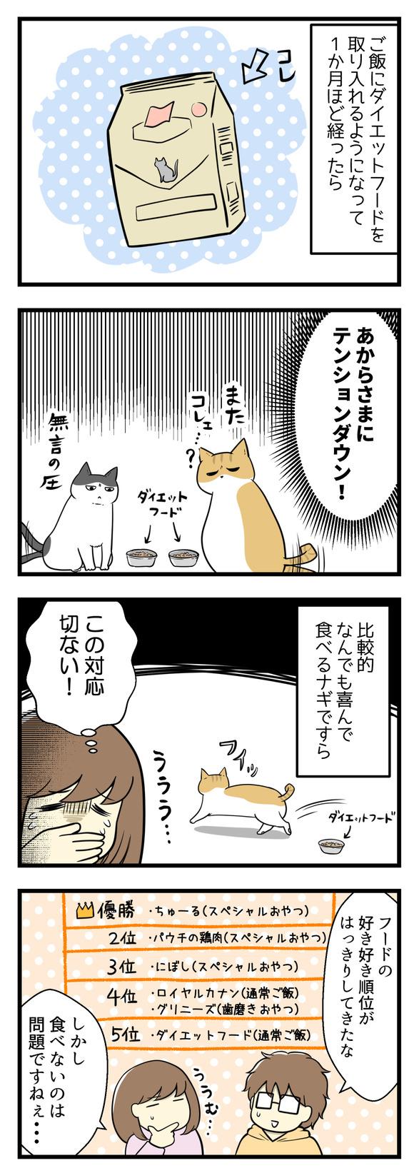 猫のご飯にダイエットフードを取り入れるようになって1か月・・・猫たちがあからさまにテンションダウンしています!比較的何でも喜んで食べるナギすらもふいっと見向きもしなくてショック・・・!フードの好き順位がはっきりしてきました。しかし食べないのは問題です・・・