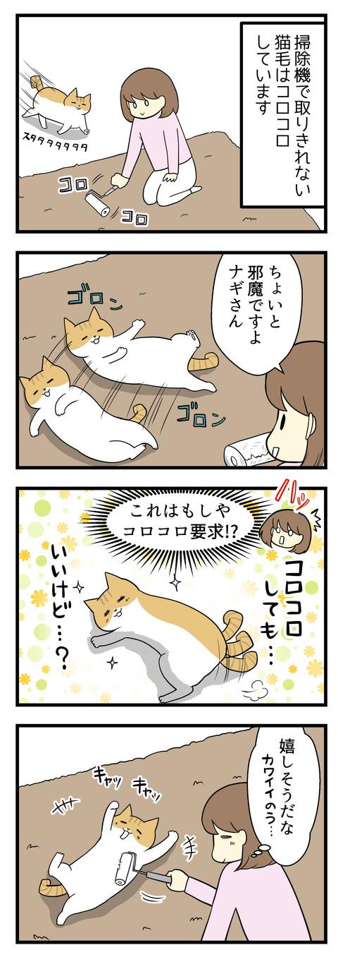 掃除機で取り切れない猫毛はコロコロしています。カーペットにコロコロをかけていると猫のナギが目の前をゴロンゴロンして邪魔してきます。これはまさか、体をコロコロしてもいいよという合図??案の定ナギの体にコロコロかけてあげると喜びました