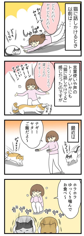 猫に話しかけるとき、以前はいかにもな高いトーンと甘い言葉遣いでした。でも最近は慣れてきたのもあり人間に話しかけるのと同じトーンで猫にも接することが多くなりました