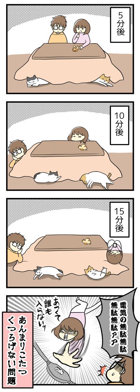 でも15分後にはあつくて足を入れていられず、人間も猫たちもこたつ布団の上でギリギリくつろぐ体制になります。電気代の無駄無駄無駄!とこたつの電源を落とし、あんまりこたつでくつろげない問題があります