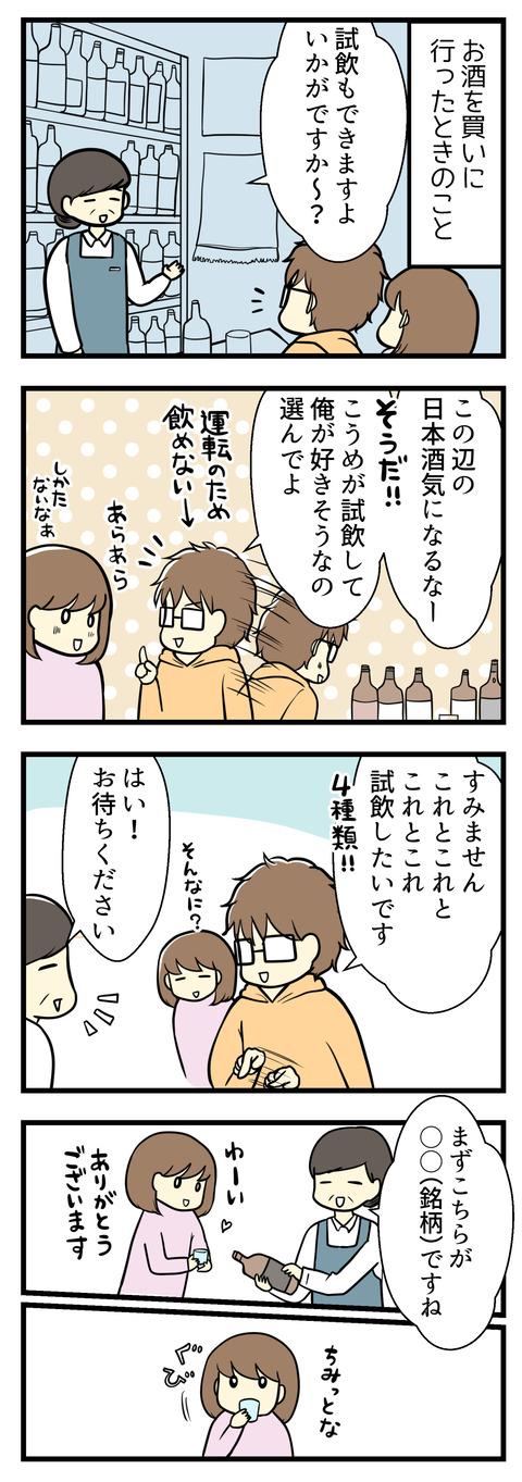 お酒を買いに行った時のことです。お店では試飲もできるとのことで、車の運転のある夫が「気になる日本酒があるから代わりに飲んでみて」と私に試飲を託しました!というわけで4種類の日本酒を私が試飲することになりました。