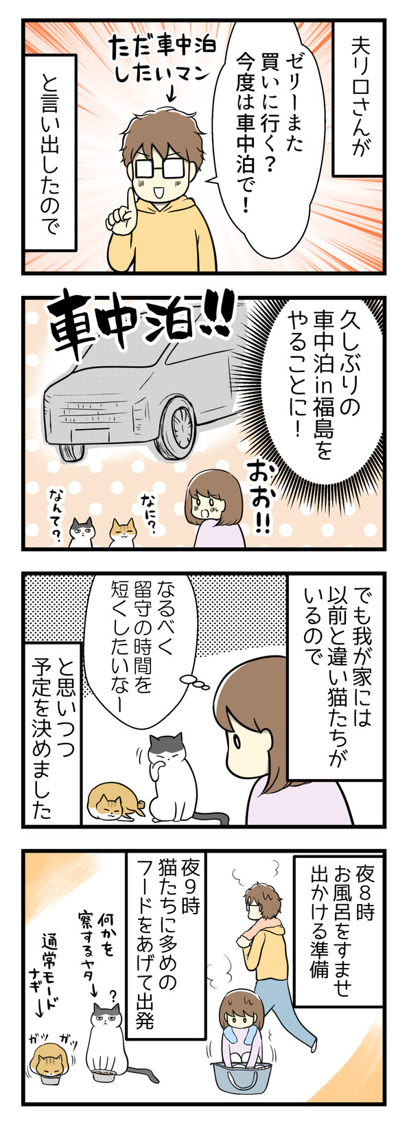 夫リロさんが「またゼリー買いに行く?今度は車中泊で!」と言い出したので久しぶりの車中泊in福島をやることに!でも我が家には以前と違い猫たちがいるので「なるべく留守の時間を短くしたいなー」と思いながら予定を立てました。夜8時にお風呂に入り出かける準備、夜9時に大目に猫フードをあげて出発。