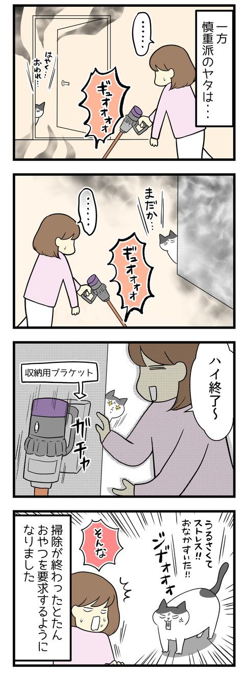 慎重派の猫ヤタは物陰に隠れて恨めしそうに掃除機を見張っています。そして掃除機を仕舞ったところを見てすぐにストレスがたまったと言わんばかりに鳴いておやつ要求が止まりません