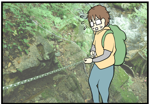滝川渓谷のチェーンを使って下るところ