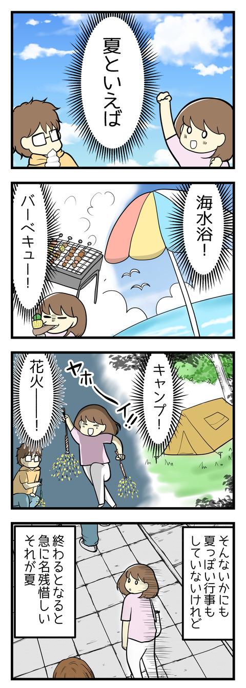 夏と言えば!海水浴!キャンプ!バーベキュー!花火!そんな夏っぽい行事はやっていないけれど終わるとなると名残惜しい、それが夏