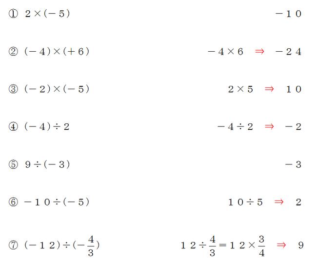 正の数や負の数の乗法・除法