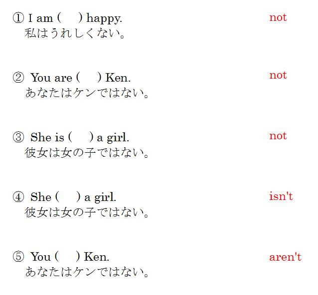 be動詞の否定文 問題