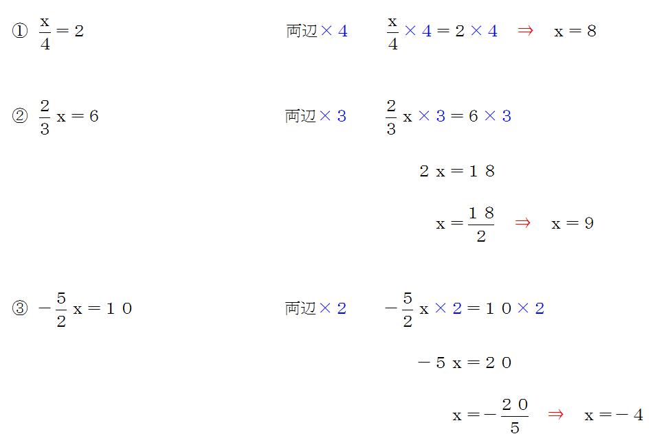分数の方程式の解き方