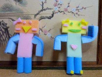 他のロボットと並んで撮影