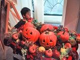 ハロウィンかぼちゃと息子