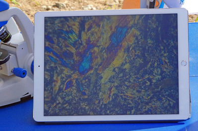 完成した薄片の鉱物顕微鏡画面