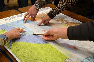 地質への石切場位置重ね合わせ作業