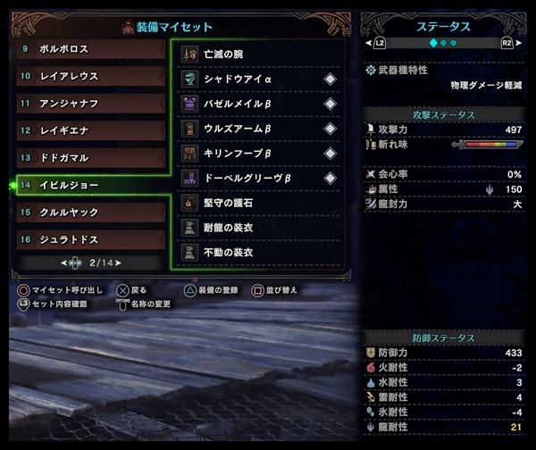 【MHW】歴戦イビルジョー用のランス装備(追記あり)