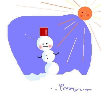 太陽と団子雪だるま