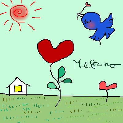 太陽と家と牧草と花と鳥
