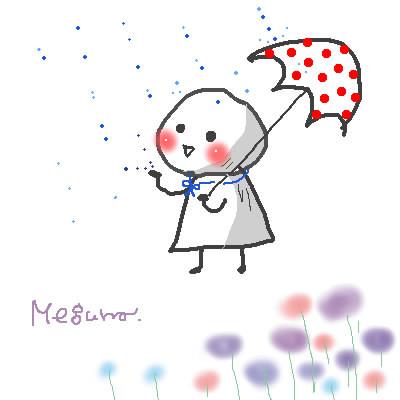 雨を楽しむてるてる坊主