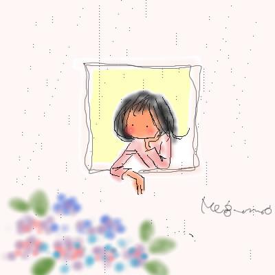雨の日の小窓とアジサイ