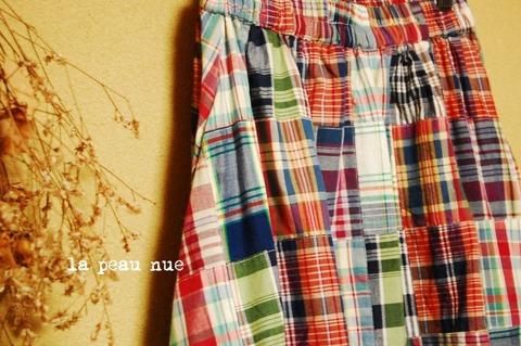 いろいろチェック柄*リメイク風のフレアロングスカート/マルチカラーチェック